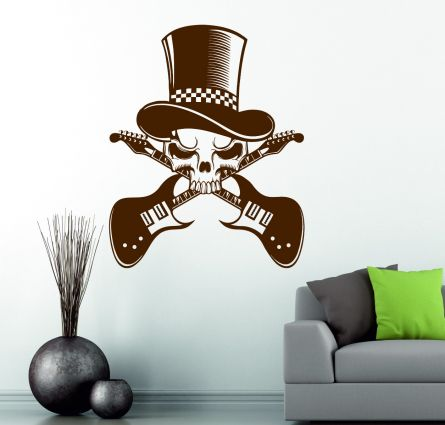 Skull Crossed Guitar Top Hat Music Hard Rock Metal